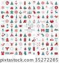 Christmas, New Year holidays icon big set 35272265
