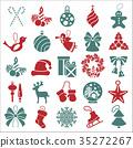 Christmas, New Year holidays icon big set 35272267
