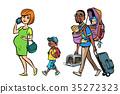 Multi ethnic family travelers, mom dad and kids 35272323
