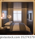 3d illustration of a bedroom interior design in a 35274379