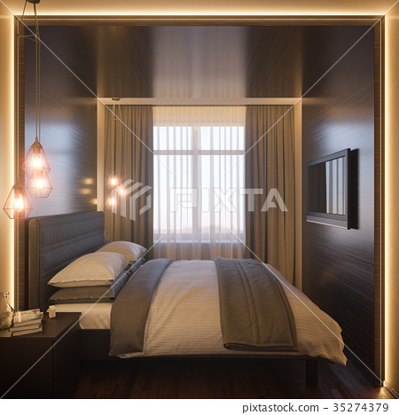 3d illustration of a bedroom interior design in a 35274379