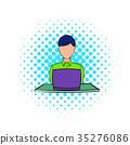 电脑 漫画 矢量 35276086