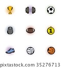 Sports equipment icons set, pop-art style 35276713