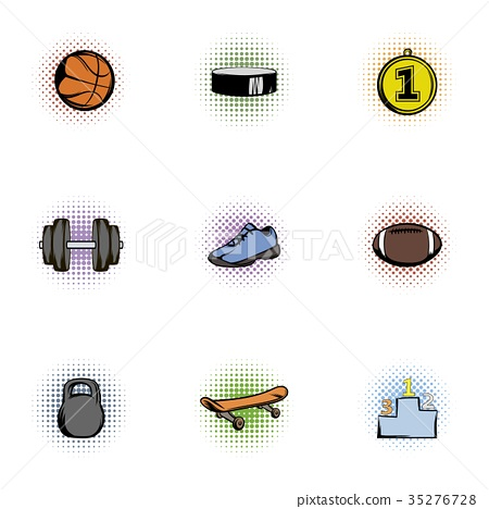Training icons set, pop-art style 35276728