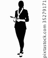 Silhouette of business woman in suit 35279171