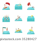 Water sport icons set, cartoon style 35280427