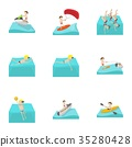Water stay icons set, cartoon style 35280428