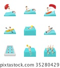 Water exercise icons set, cartoon style 35280429