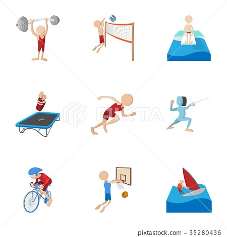 Professional sports icons set, cartoon style 35280436