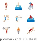 Types of professional sports icons set 35280439