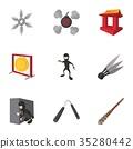 Ninja icons set, cartoon style 35280442