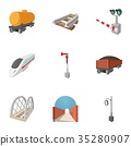 Electrical train icons set, cartoon style 35280907