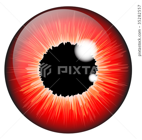 red  iris eye realistic  vector  35282557