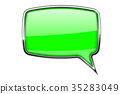 Green speech bubble. Square 3d icon with chrome 35283049
