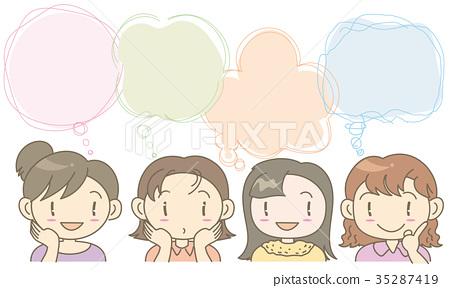 講話泡泡設置框架 - 婦女 35287419