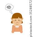 女孩上身例證擔心並且考慮拿著藤莖 35288572