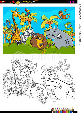 cartoon safari animal characters coloring book 35289854