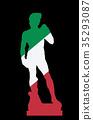Silhouette of David statue, Florence, italian flag 35293087