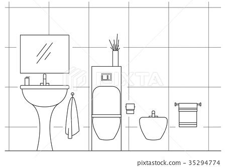 Bathroom. Washbasin, toilet, bidet.  35294774