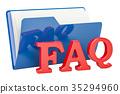 FAQ computer folder, 3D rendering 35294960