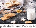 Tasty breakfast with biscuits and milk 35295632