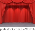 Red stage curtains 35298016