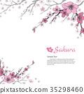 Sakura branch with sweet pink flowers. 35298460