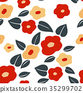 Japanese pattern seamless vector Red flower  35299702