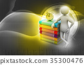 3d man with book and alarm 35300476