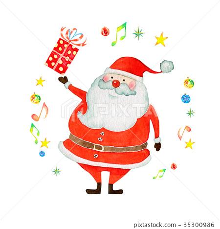 聖誕快樂聖誕老人水彩例證 35300986