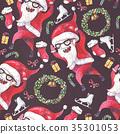large raster seamless pattern with dancing santa 35301053