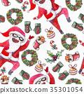 large raster seamless pattern with dancing santa 35301054