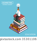 Businessman reading at the top of book stack. 35301106
