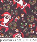 Large raster seamless pattern with dancing santa 35301159