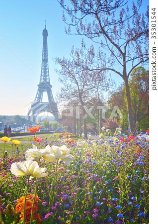 Eiffel Tower in vintage postcard style, Paris 35301544