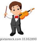 Little boy playing violin 35302890