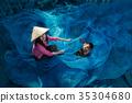 Fisherman repair fishing net. 35304680