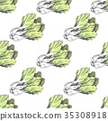 Green Graphic Lettuce on White Endless Texture 35308918