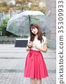 A woman holding an umbrella 35309933