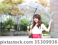 ผู้หญิงกำลังถือร่ม 35309936