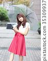 ผู้หญิงกำลังถือร่ม 35309937