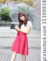 ผู้หญิงกำลังถือร่ม 35309938