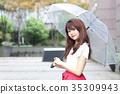 ผู้หญิงกำลังถือร่ม 35309943