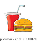 vector cartoon tasty burger and cola paper cup 35310078