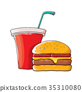 vector cartoon tasty burger and cola paper cup 35310080