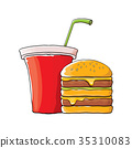 vector cartoon tasty burger and cola paper cup 35310083