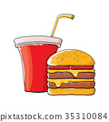 vector cartoon tasty burger and cola paper cup 35310084