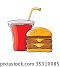 vector cartoon tasty burger and cola paper cup 35310085