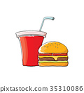 vector cartoon tasty burger and cola paper cup 35310086