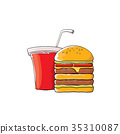 vector cartoon tasty burger and cola paper cup 35310087